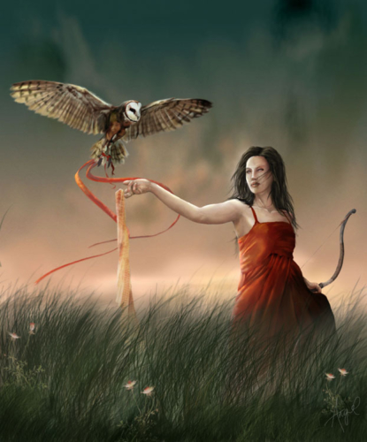 Digital painting of a blind archer with owl