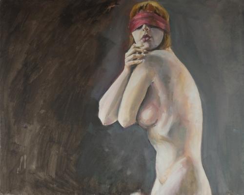 Oil painting of Freya implied nude