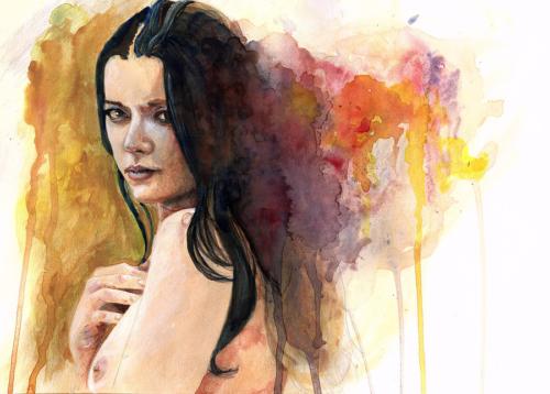 Watercolour of Helen Diaz Topless