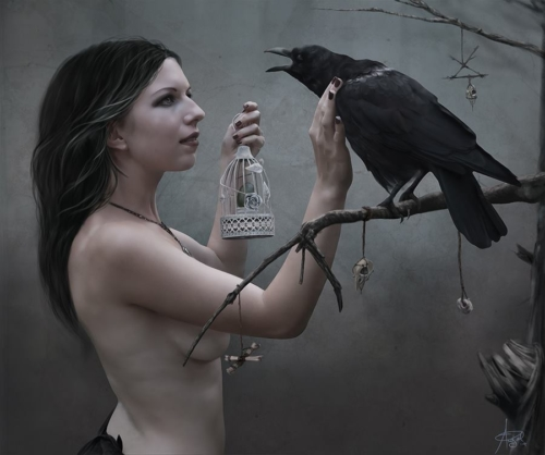 Digital painting of woman with magpie