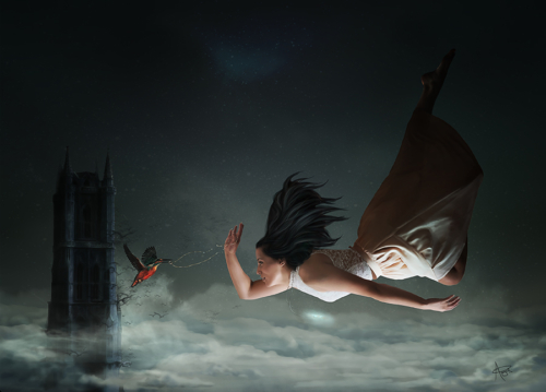 Digital painting of a woman falling with a hummingbird
