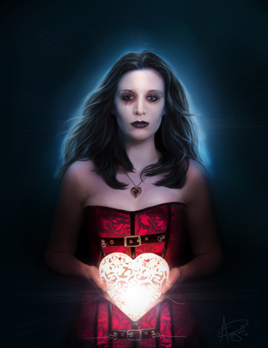 Digital painting of woman with light up heart