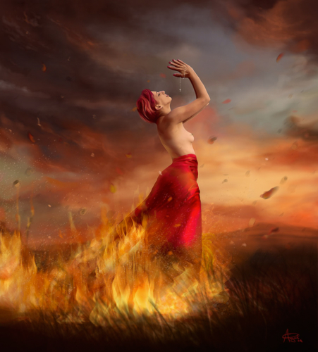 digital painting of a model on fire