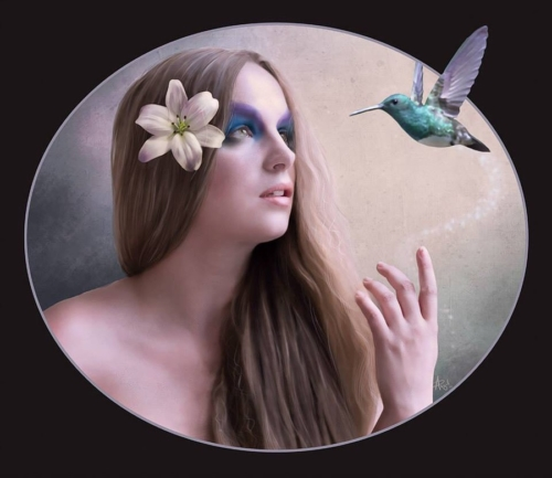 Digital painting of Jezebelle with hummingbird