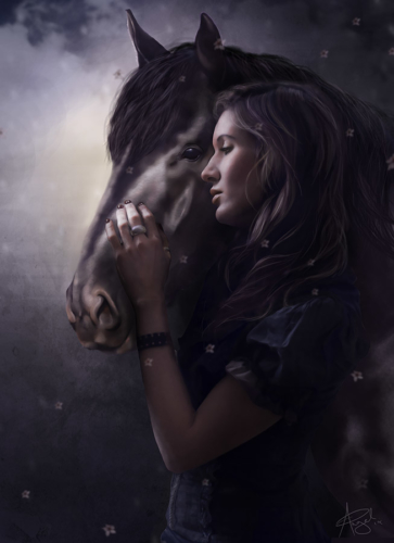 digital painting of a woman with a horse