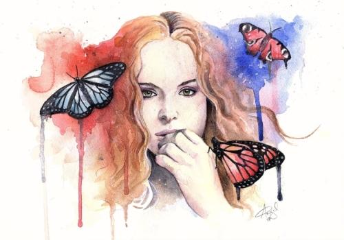 Watercolour portrait of Jezebelle