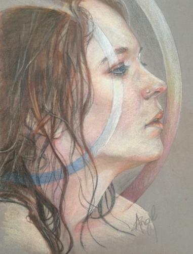 coloured pencil portrait on grey toned paper