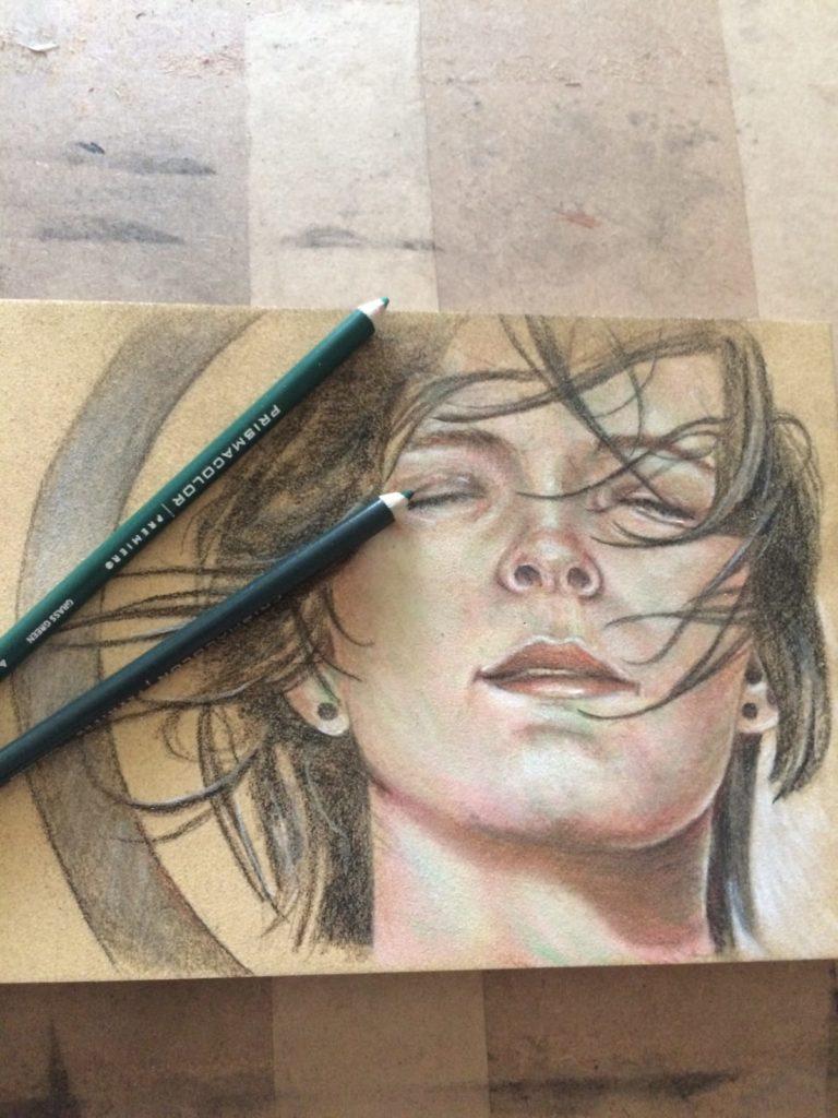 Finished portrait using prismacolor premier coloured pencils.